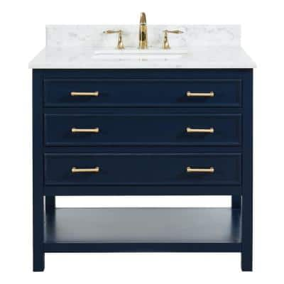 Uptown 36 in.W x 22 in.D x34.75 in.H Bath Vanity in Navy Blue with Carrara Marble Vanity Top in White with White Basin