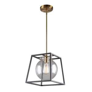 Bridegtown 1-Light Black and Harvest Brass Pendant with Glass Shade