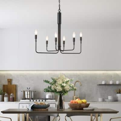 Arlin Adjustable 25 in. W Modern Black Farmhouse Candle Kitchen Versatile Christmas Chandelier 6-Light Pendant Light