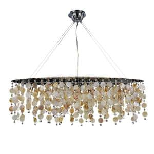 Seaside Dreams 578 5-Light Oyster Shell and Crystal Polished Chrome Modern Oval Oblong Chandelier