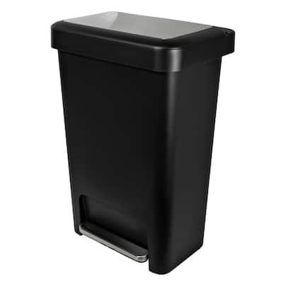 12.4 Gal. Black Wide Step-On Trash Can