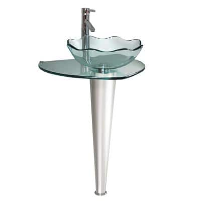 Netto 24 in. Modern Stainless Steel Pedestal with Clear Glass Vessel Sink