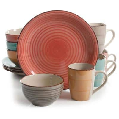 Color Vibes 12-Piece Casual Assorted Colors Stoneware Dinnerware Set (Service for 4)