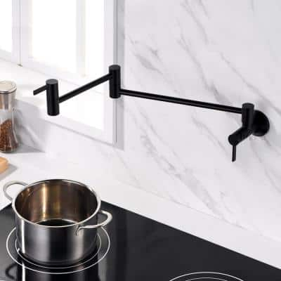 Contemporary 2-Handle Wall-Mounted Pot Filler in Matte Black