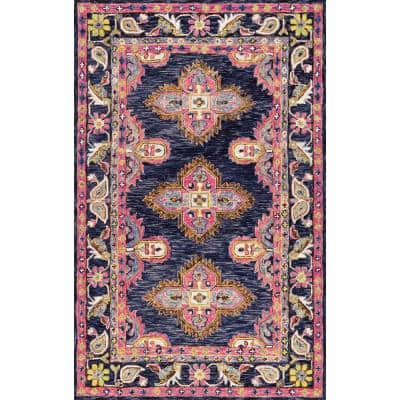 Nuloom Artie Bohemian Navy 8 Ft X 10 Ft Area Rug Riry05a 76096 The Home Depot