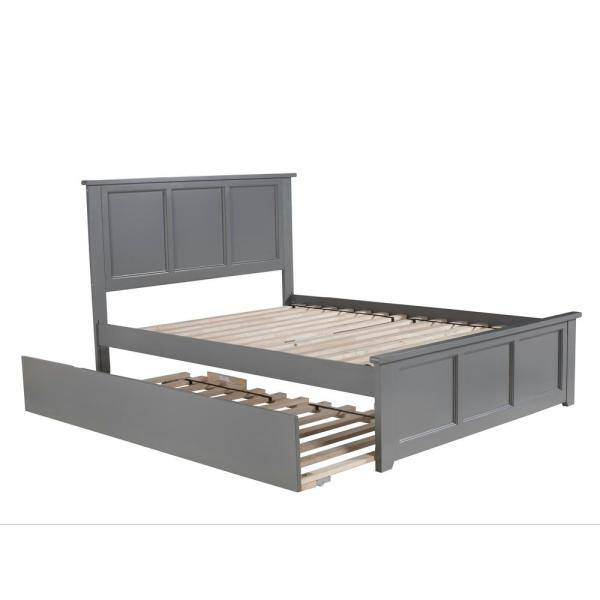 Atlantic Furniture Madison Full Platform Bed With Matching Foot Board With Twin Size Urban Trundle Bed In Grey Ar8636019 The Home Depot