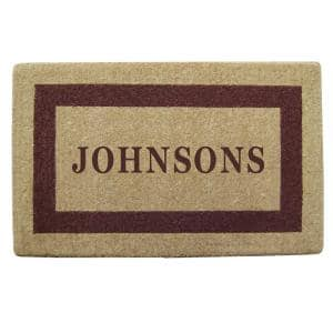 Single Picture Frame Brown 22 in. x 36 in. HeavyDuty Coir Personalized Door Mat