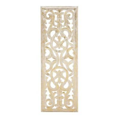 36 in. x 12 in. Gold Wood Traditional Wall Decor