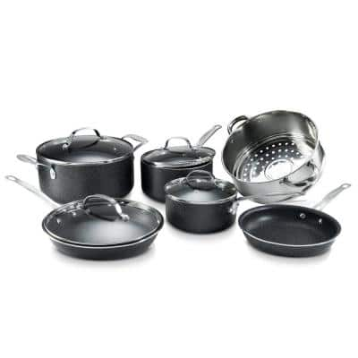 10-Piece Aluminum Ultra-Durable Non-Stick Diamond Infused Cookware Set with Glass Lids