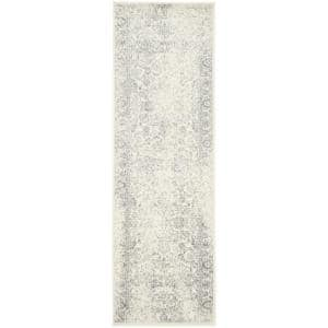 Adirondack Ivory/Silver 3 ft. x 12 ft. Runner Rug