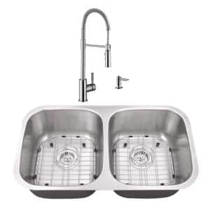 Undermount Stainless Steel 32-1/4 in. 50/50 Double Bowl Kitchen Sink with Brushed Nickel Faucet
