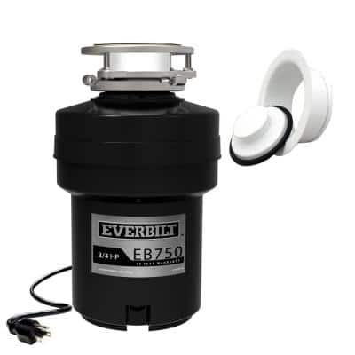 Designer Series 3/4 HP Continuous Feed Garbage Disposal with White Sink Flange and Attached Power Cord