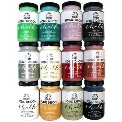 Home Decor 8 oz. 12-Color Ultra Matte Chalk Finish Paint Set