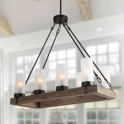 Wood Chandelier Farmhouse 8-Light Brown Linear Black Chandelier Island Pendant Light with Frosted Cylinder Glass Shades