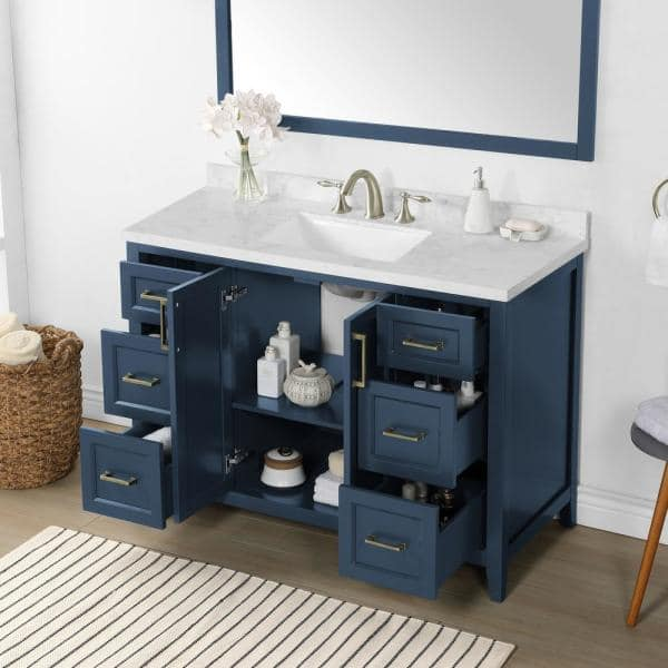 Home Decorators Collection Madsen 48 In W X 22 In D Bath Vanity In Grayish Blue With Cultured Marble Vanity In White With White Basin Madsen 48gb The Home Depot