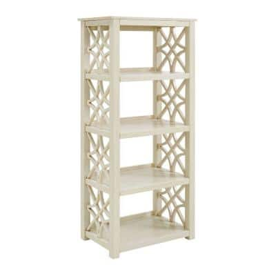 54.5 in. H Antique White 4-Shelf Wooden Bookcase with Geometric Side Panels