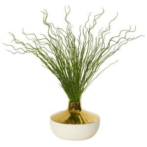 19 in. Curly Grass Artificial Plant in Designer Planter