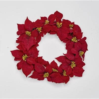 20 in. Poinsettia Wreath on Natural Twig Base