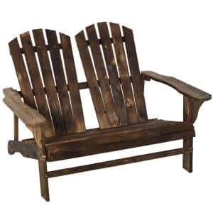 Rustic Brown Fir Wooden Adirondack Chair with Wide Armrest