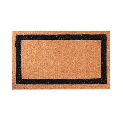 Black Classic Border 60 in. x 36 in. Coir Door Mat