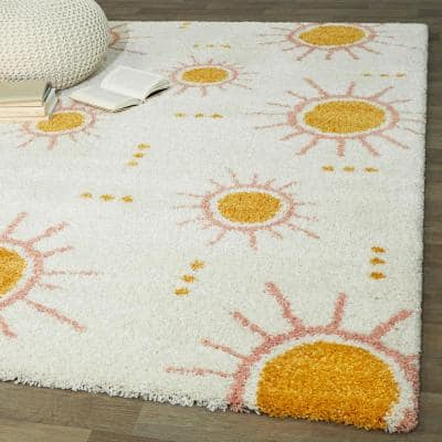 Sun Spot Cream 4 ft. x 6 ft. Kids Area Rug