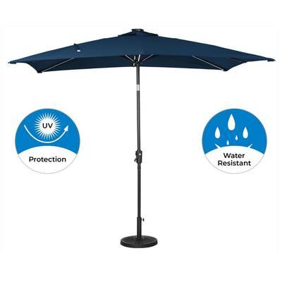 9 ft. x 7 ft. Rectangular Next Gen Solar Lighted Market Patio Umbrella in Denim Blue