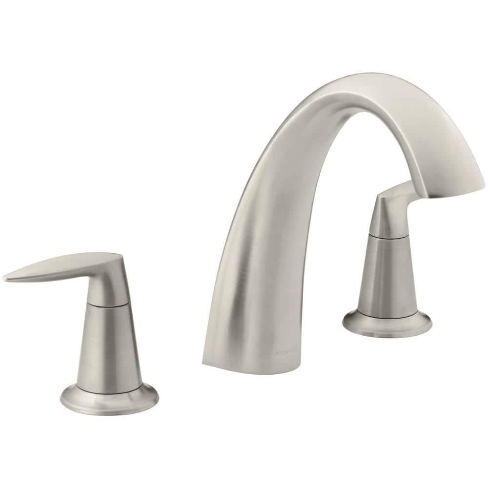kohler alteo deck mount 2 handle high arc bathroom faucet trim kit in vibrant brushed nickel valve not included k t45115 4 bn the home depot