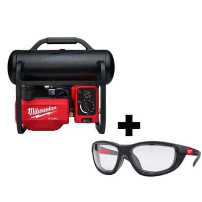 M18 FUEL 18-Volt Lithium-Ion Brushless 2 Gal. Electric Compact Quiet Compressor and Performance Safety Glasses w/ Gasket