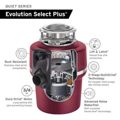 Evolution Select Plus Lift & Latch Quiet Series 3/4 HP Continuous Feed Garbage Disposal with Power Cord Kit