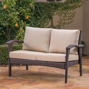 Honolulu Brown Wicker Outdoor Loveseat with Tan Cushions