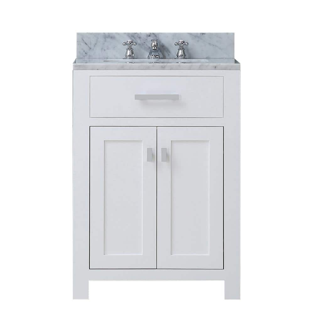 Water Creation Madison 24 In Vanity In Modern White With Marble Vanity Top In Carrara White Madison24w The Home Depot