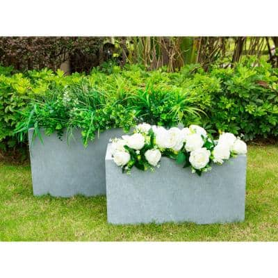 31 in. and 23 in. L Slate Gray Lightweight Concrete Modern Low Granite Outdoor Planter (Set of 2)