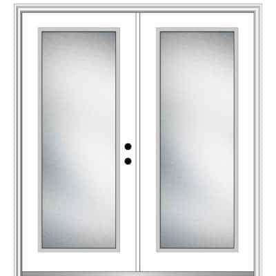 64 in. x 80 in. Micro Granite Left-Hand Inswing Full Lite Decorative Primed Steel Prehung Front Door on 6-9/16 in. Frame