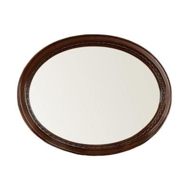Medium Oval Brown Cherry Beveled Glass Classic Mirror (37 in. H x 49 in. W)