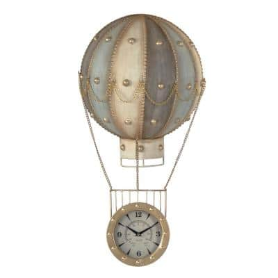 Metal Hot Air Balloon Gold Chained Carriage Studded on a Flat Faced Clock