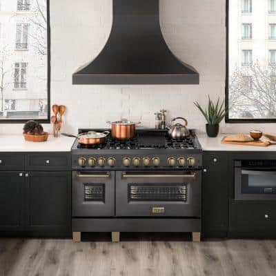 Autograph Edition 48 in. 6 cu. ft. Double Oven Dual Fuel Range in Black Stainless Steel with Champagne Bronze Accents