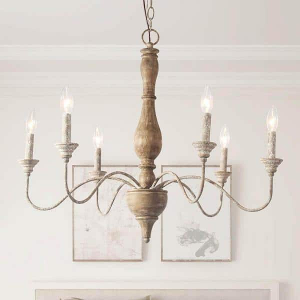 Lnc 6 Light Rustic Farmhouse Wood, Country Style Chandelier
