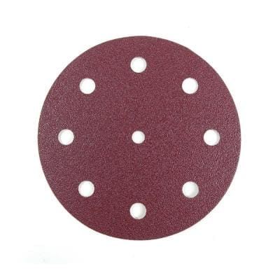 125 mm 240-Grit 9-Hole A/O Hook and Loop Disc for Festool RO 125/ETS 125 Sander in Red (50-Pack)