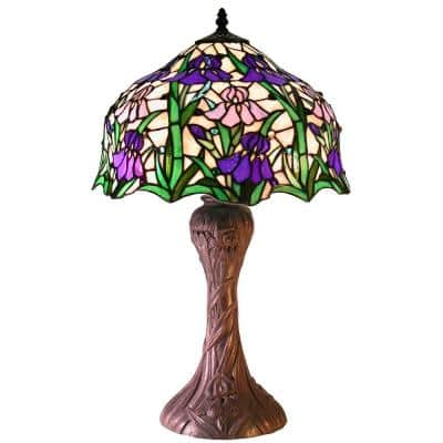 Iris 23 in. Tiffany Style Blue Indoor Table Lamp with Pull Chain