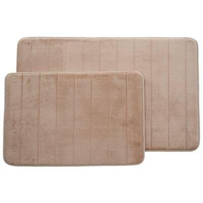 Taupe 20.25 in. x 32.25 in. Memory Foam 2-Piece Bath Mat Set