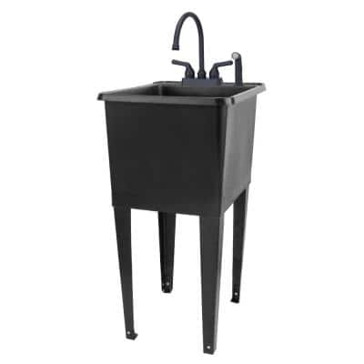 17.75 in. x 23.25 in. Thermoplastic Freestanding Space Saver Utility Sink in Black - Black Faucet, Side Sprayer