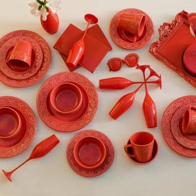 Mendi Coral 16-Piece Casual Coral Earthenware Dinnerware Set (Service for 4)