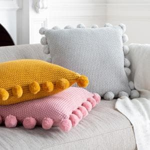 Liviah Light Gray Knitted with Pom Poms Polyester Fill 20 in. x 20 in. Decorative Pillow