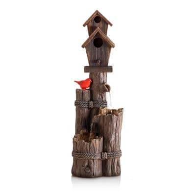 35 in. Tall Outdoor 3-Tier Birdhouse Water Fountain Yard Art Decor
