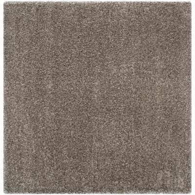 Milan Shag Gray 5 ft. x 5 ft. Square Solid Area Rug