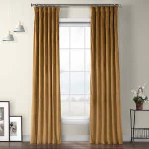 Spiced Rum Velvet Rod Pocket Room Darkening Curtain - 50 in. W x 96 in. L
