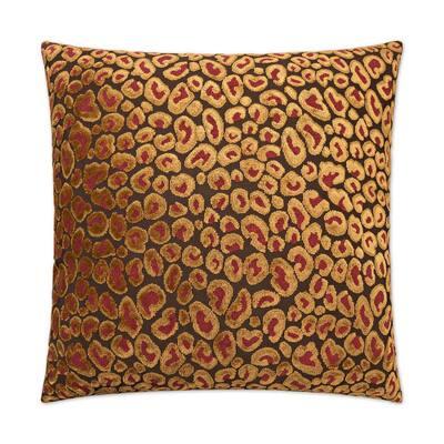 Cheetah Ruby Geometric Down 24 in. x 24 in. Throw Pillow