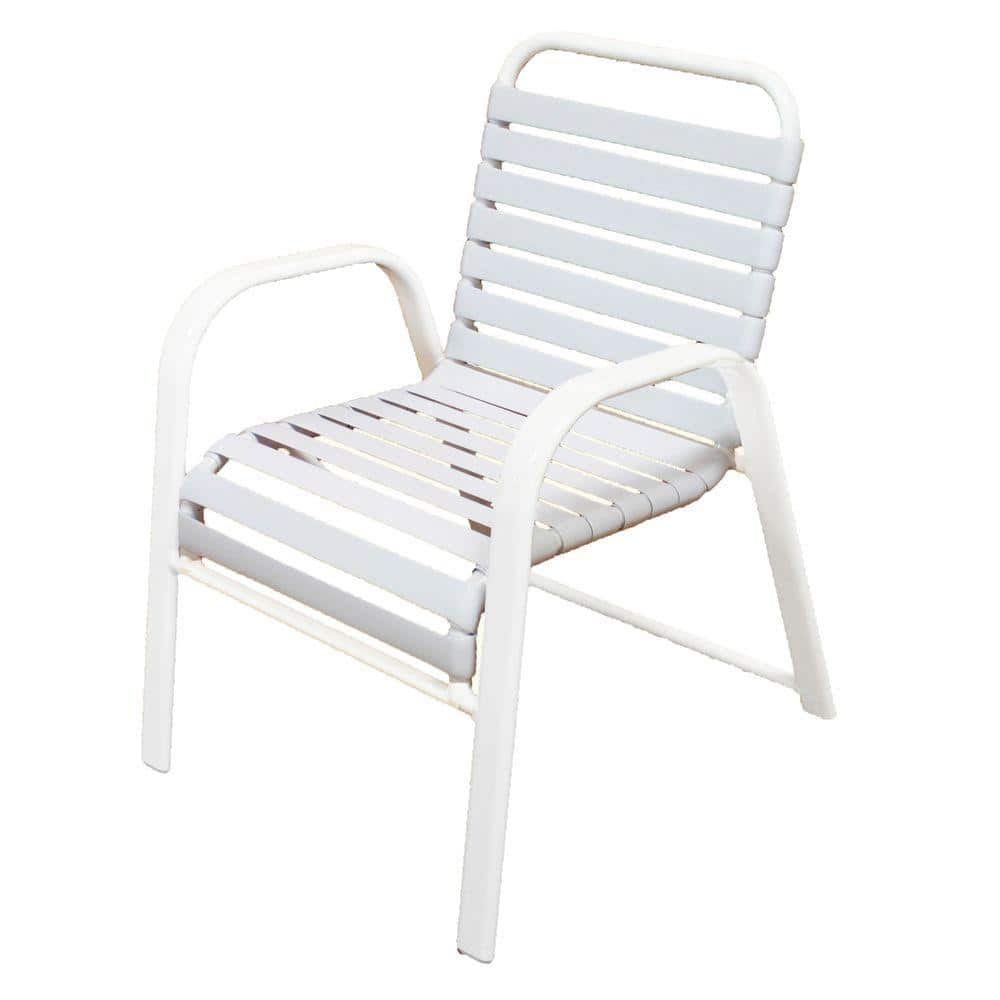 Marco Island White Commercial Grade Aluminum Patio Dining Chair With White Vinyl Straps 2 Pack 3200 W W The Home Depot
