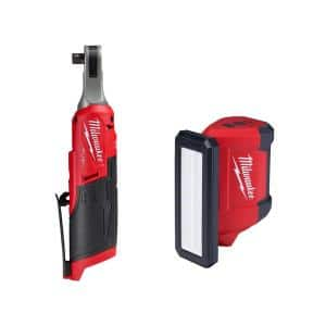 M12 FUEL 12-Volt Lithium-Ion Brushless Cordless High Speed 3/8 in. Ratchet with M12 Rover Flood Light