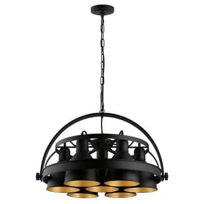 7-Light Priddy 2 7x60-Watt 21 in. Industrial Pendant with Black